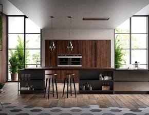 Cucina grigio industriale con penisola Kaly Arredo3 in offerta