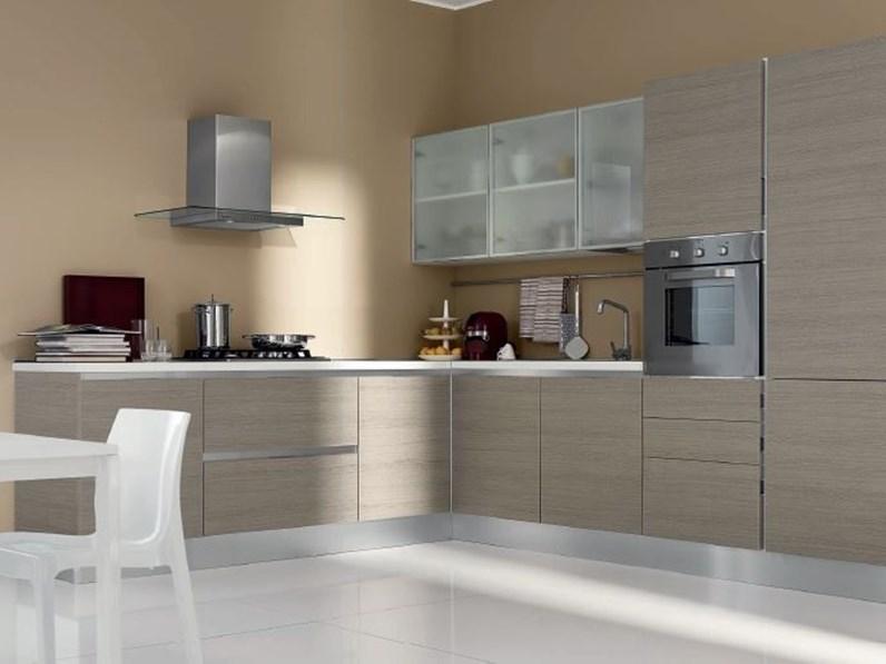 Cucina grigio moderna ad angolo Cucina-angolare mod.eva di aran cucine  scontata del 30% Aran cucine