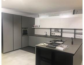Cucina grigio moderna con penisola Ak projet Arrital cucine