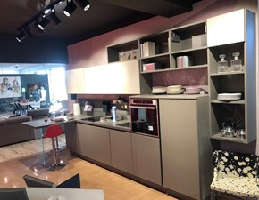 Cucina grigio moderna con penisola Clover Lube cucine in Offerta Outlet