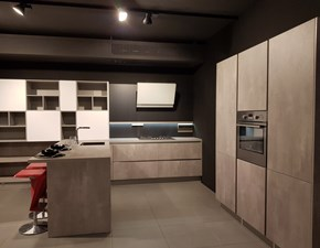 Cucina grigio moderna con penisola Comet-gl hacker Electrolux in Offerta Outlet