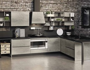 Cucina grigio moderna con penisola Cucina industrial cemento e metallo  Nuovi mondi cucine scontata