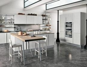Cucina grigio moderna con penisola Essenza Colombini casa in Offerta Outlet