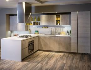 Cucina grigio moderna con penisola Five Diotti.com scontata