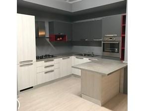 Cucina grigio moderna con penisola Luna Arredo3 in Offerta Outlet