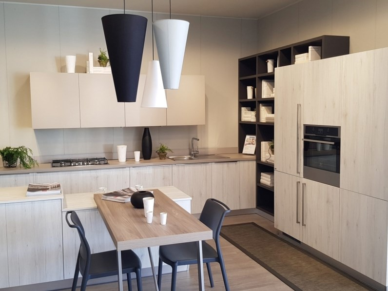 Cucina grigio moderna con penisola Mood Scavolini in ...