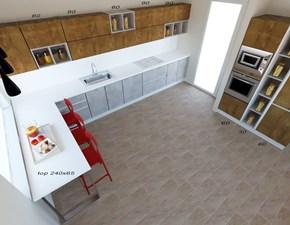 Cucina grigio moderna con penisola Sp22 Astra