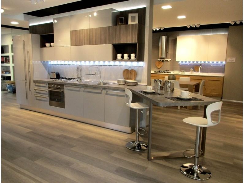 Cucina grigio moderna lineare Carrera Veneta cucine in Offerta Outlet