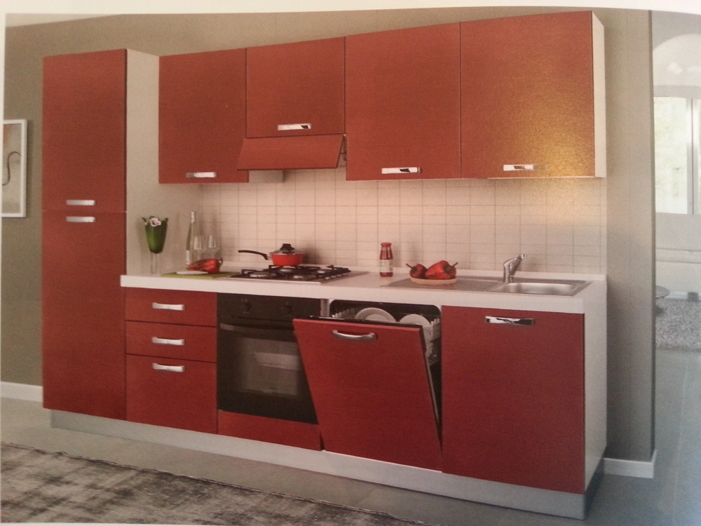 Cucina artigianale moderna laminato materico rossa - Cucina moderna rossa ...