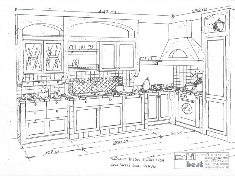 Cucina in muratura angolare ante legno laccato crema con profili giallo scontata del 66 - Cucina angolare misure ...