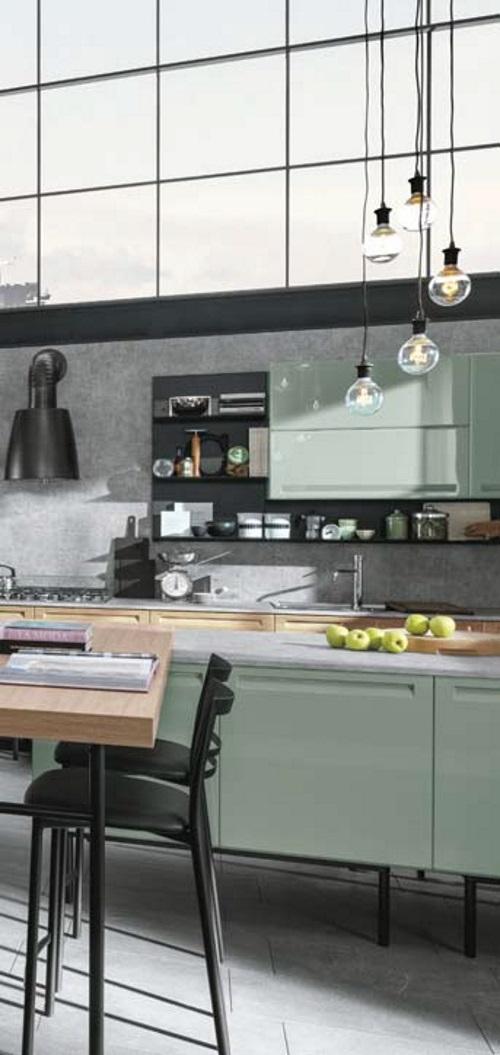 Cucina industrial green eco in offerta con isola e piano - Isola lavoro cucina ...