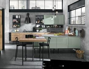 cucina industrial green eco in offerta con isola e piano lavoro penisola