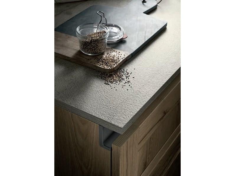 Cucina industriale ad angolo cucina essenza rovere chiaro - Composizione cucina ad angolo ...