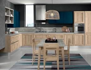 Cucina industriale  ad angolo Cucina essenza rovere chiaro in Offerta Outlet