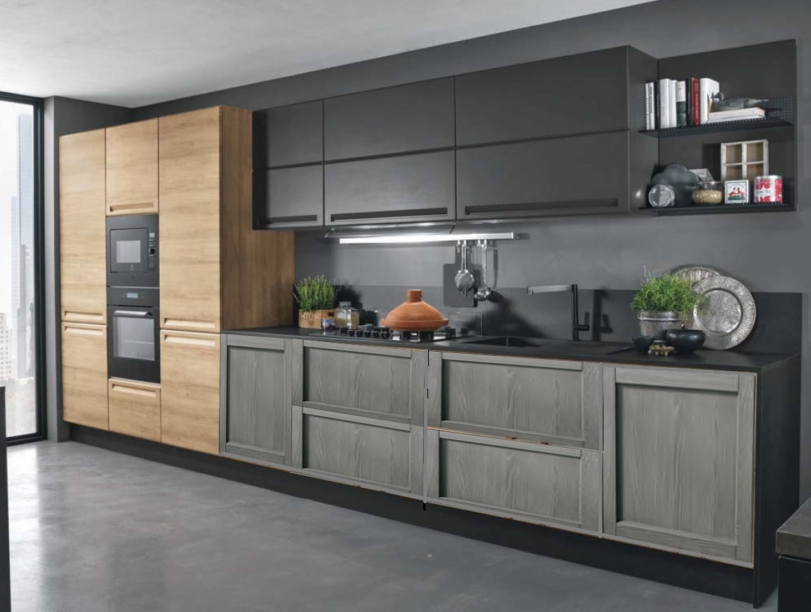 cucina industriale moderna lineare in offerta convenienza outlet ...