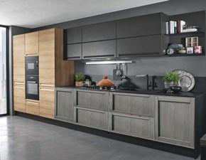 cucina lineare grigia e legno offerta outlet