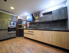 Cucina industriale rovere chiaro Nuovi mondi cucine lineare Cucina industrial in offerta completa con colonne frigo e  doppio forno in offerta