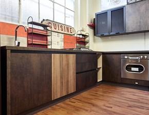 cucina industriale style moderna angolare ossido bronzo in  offerta con set elettrodomestici inox retro' vintage