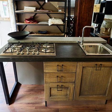 Cucina isola vintage shabby grey con lavello e piano for Isola mobile cucina