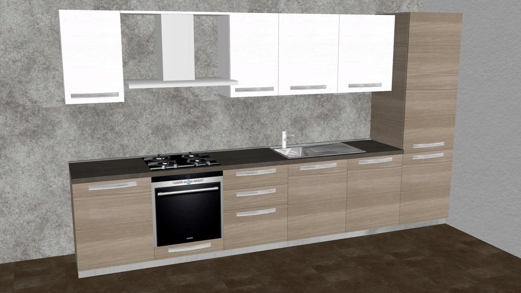 Cucina lineare da 360 cm completa di elettrodomestici a prezzo ...