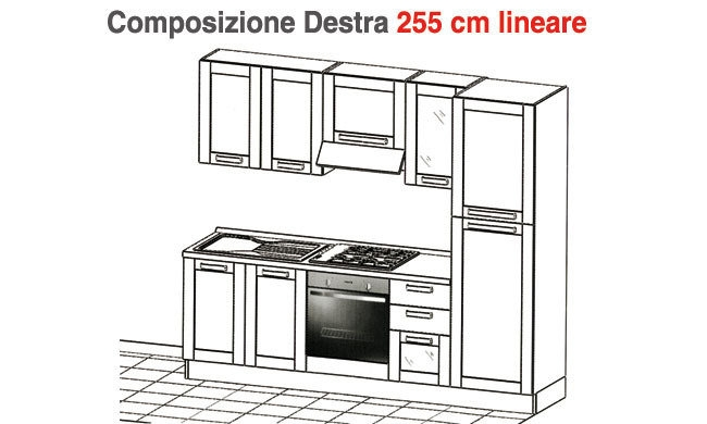 Cucina cm lineari cucine a prezzi scontati - Cucina completa mercatone uno ...