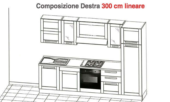 Cucina cm lineari cucine a prezzi scontati - Top cucina dimensioni ...