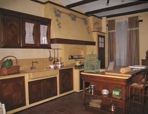 Cucina L'ottocento classica ad isola  in legno noce con intarsio mod.Antigua