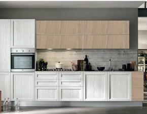cucina moderna vintage lineare ante legno essenza rovere chiaro e white in offerta no stosa
