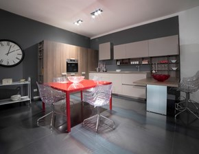 Cucina Line moderna bianca con penisola Euromobil