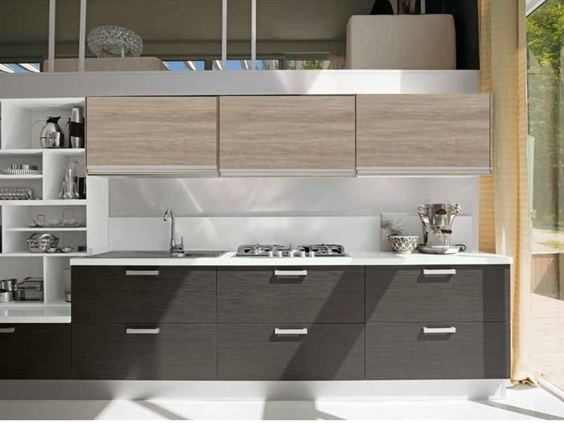 CUCINA linea moderna new beige e grigio essential con libreria in ...