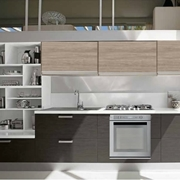 cucina moderna due colori essential beige e sucupira grigio  con libreria