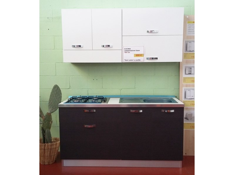 Cucina lineare 160 cm ideale per piccoli spazi offerta outlet - Cucine piccoli spazi ...
