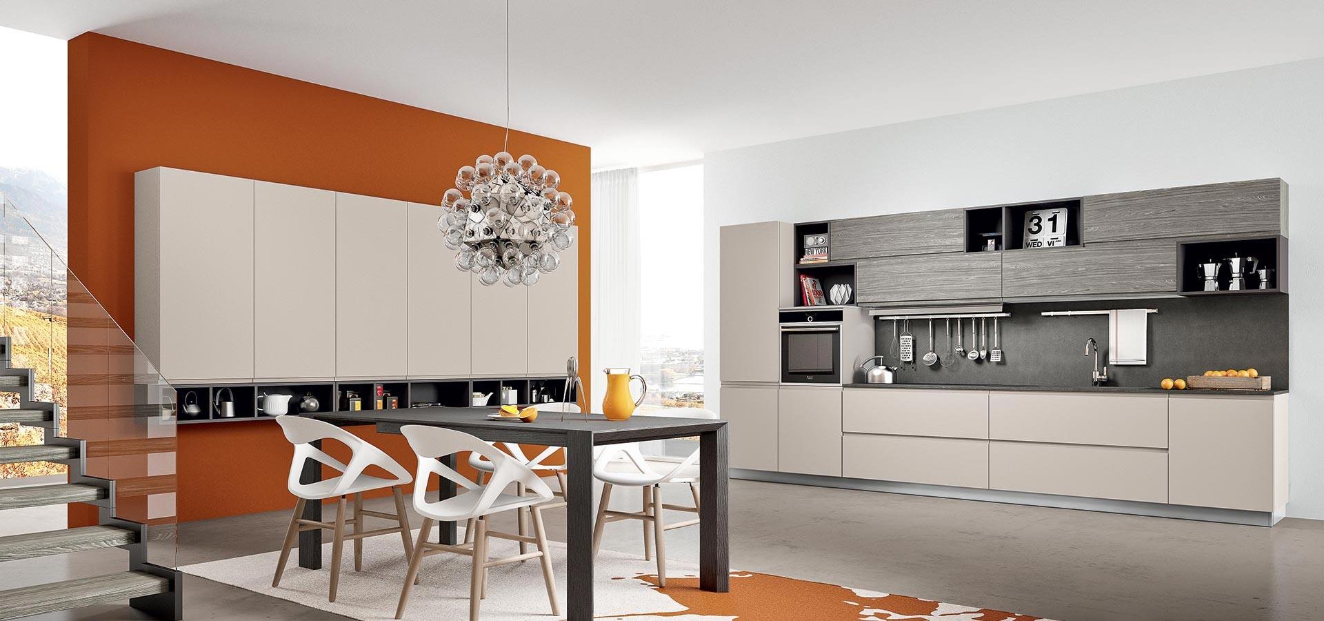 Cucina lineare apertura a gola competa di elettrodomestici rex cucine a prezzi scontati - Foto cucine moderne ...