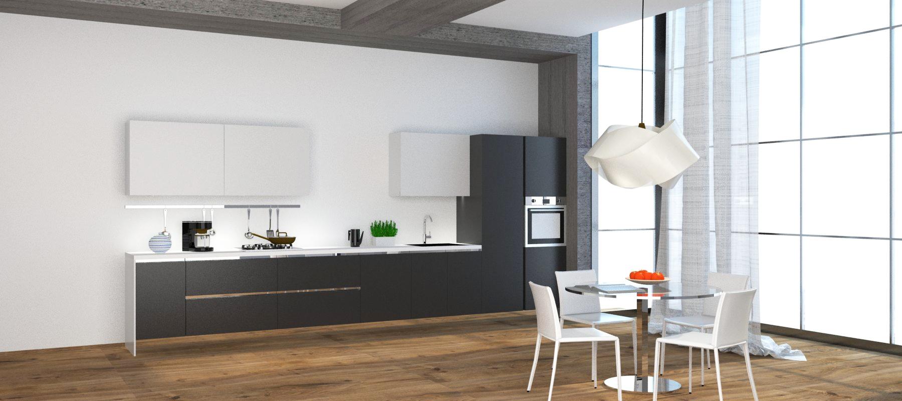 Cucina lineare con colonna frigo e colonna forno nuova a - Cucina con elettrodomestici ...