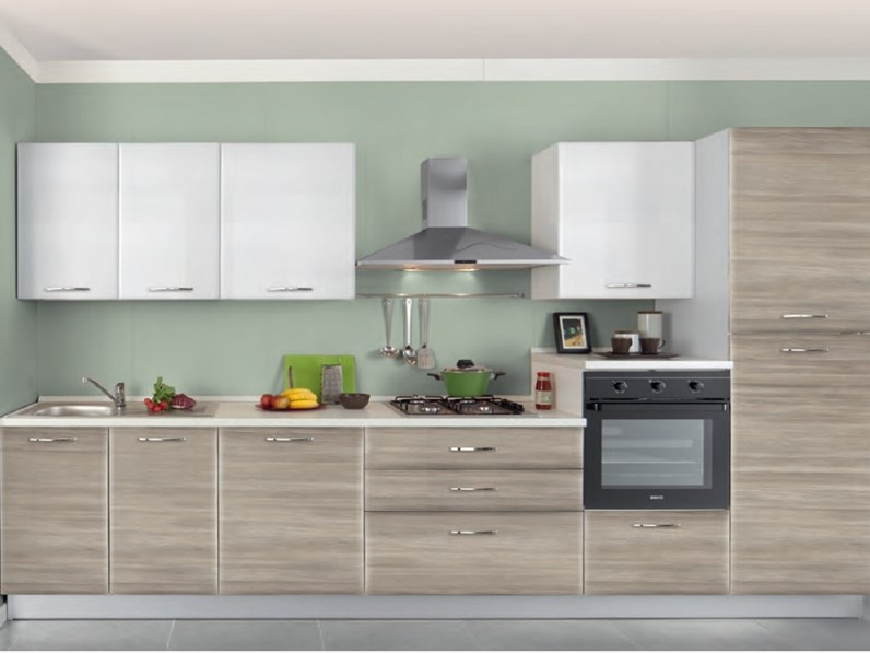 Cucina 3 Metri Lineari Con Lavastoviglie.Cucina Lineare Con Elettrodomestici Fine Produzione Disponibile In Diversi Colori