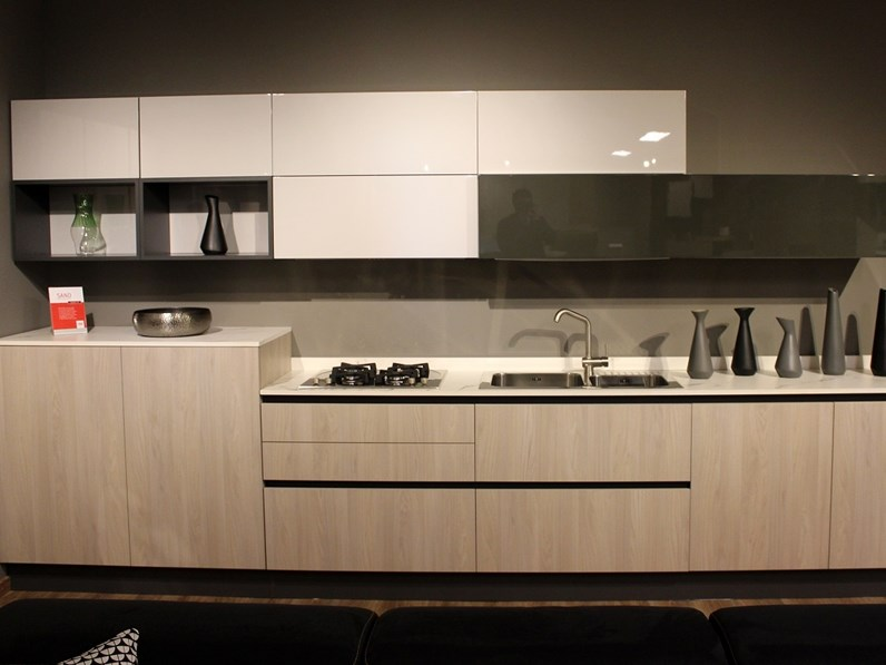 Cucina lineare design Sand Febal a prezzo ribassato