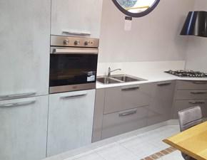 Cucina lineare in laccato lucido grigio Miami a prezzo scontato