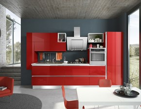 Cucina lineare in laccato lucido rossa Cucina artigianale mod.sally laccata rosso lucido a prezzo scontato