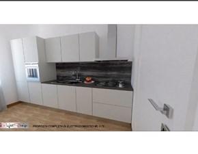 Cucina lineare in laccato opaco bianca Line a prezzo ribassato