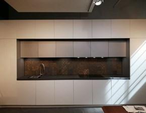 Cucina lineare in laccato opaco bianca Zen a prezzo ribassato