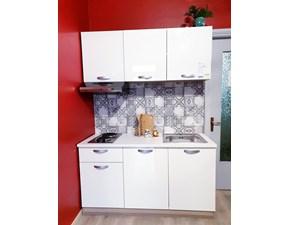 Cucina lineare in laminato lucido bianca Ely a prezzo scontato