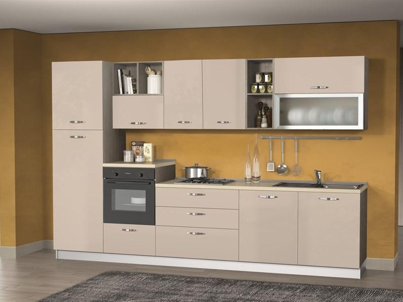 Cucina lineare in laminato lucido tortora Cucina componibile mod ...