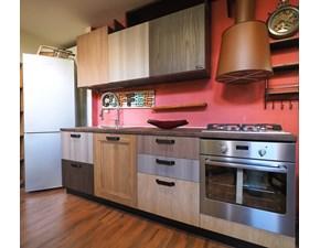 Cucina lineare in laminato materico altri colori Cucina moderna ecocolor con frigo beko in offerta    a prezzo scontato