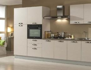 Cucina lineare in laminato materico bianca Easy 3 a prezzo ribassato