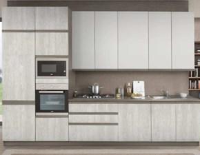 Cucina lineare in laminato materico bianca Linea a prezzo ribassato