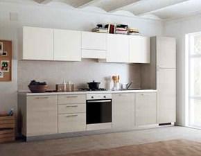 Cucina lineare in laminato materico bianca Urban a prezzo scontato