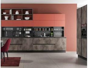 Cucina lineare in laminato materico grigio  ccuina industrial  in ossido cemento rame  in offerta  a prezzo scontato