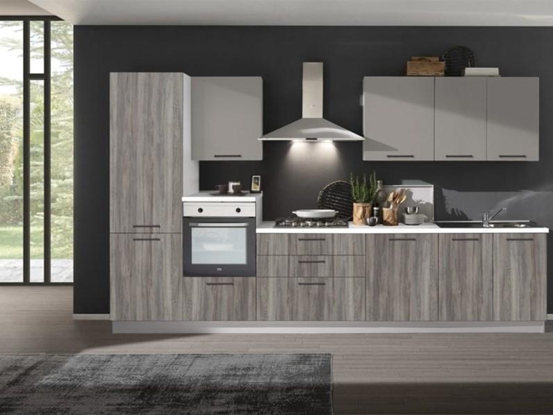 Cucina lineare in laminato materico grigio cucina componibile mod