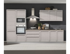 Cucina lineare in laminato materico grigio Cucina elisa 360 cm five a prezzo scontato