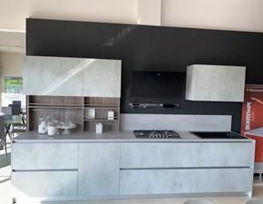 Cucina lineare in laminato materico grigio Easy a prezzo ribassato